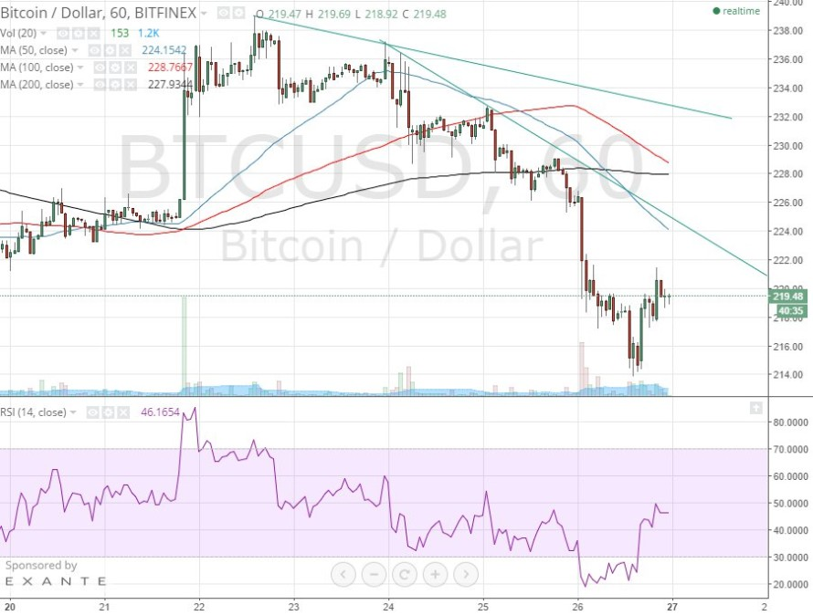 Bitcoin Price Technical Analysis for 27/4/2015 – Weekend Weakness