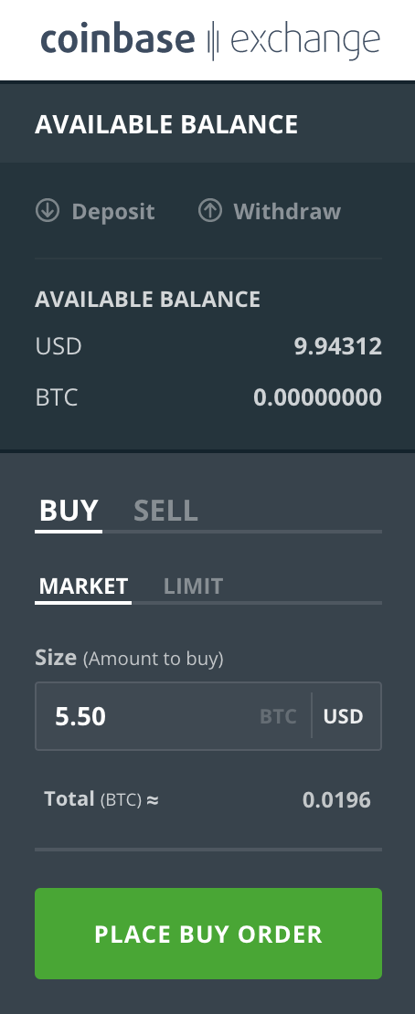 Market orders on Coinbase