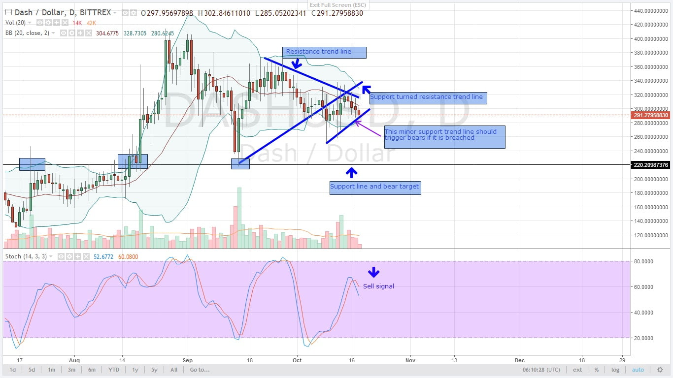 DASHUSD Daily Chart for 18.10.2017