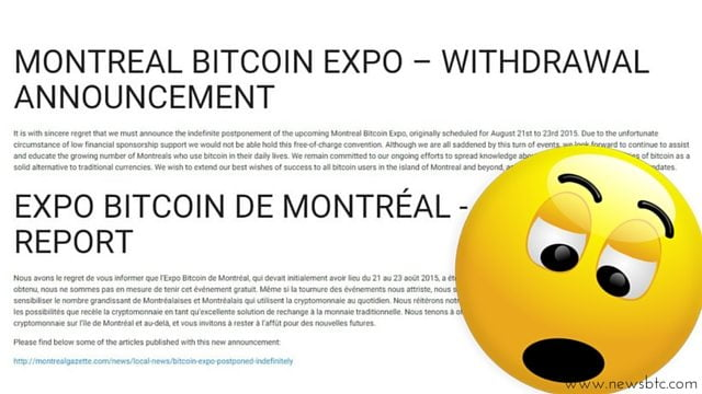 Lack of Sponsors Leads Montreal's Bitcoin Expo to Be Postponed.