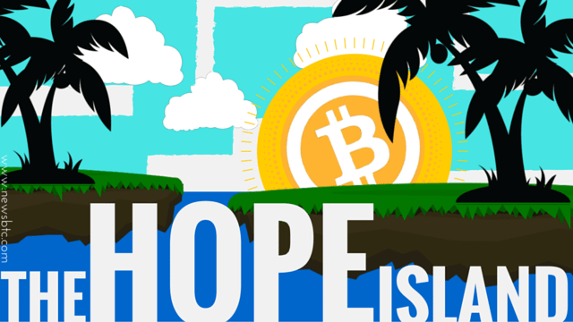 Island of hope for refugees. Bitcoin and Blockchain for refugees.