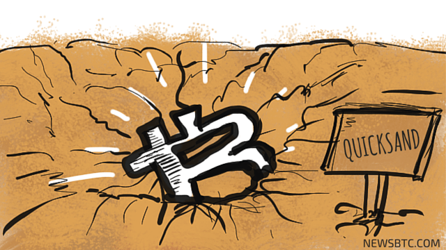 bitcoin price stuck in a range. quicksand illustration. newsbtc