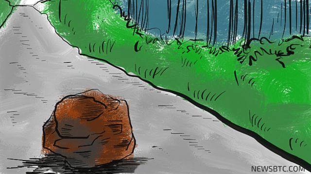 bitcoin price. road block illustration. newsbtc bitcoin price news.