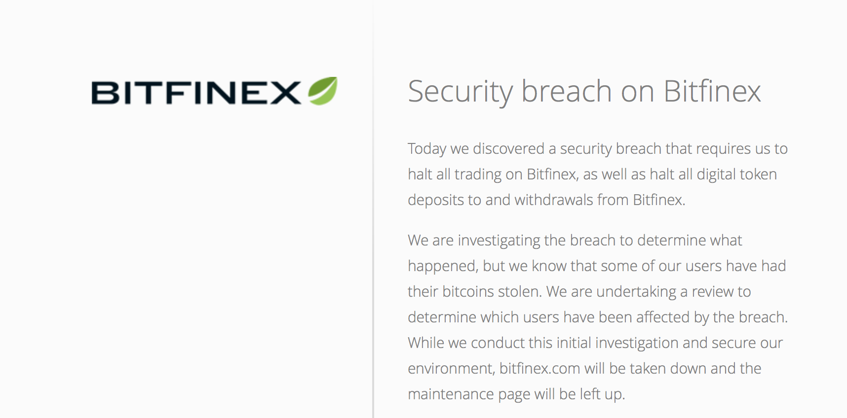 bitfinex , security breach