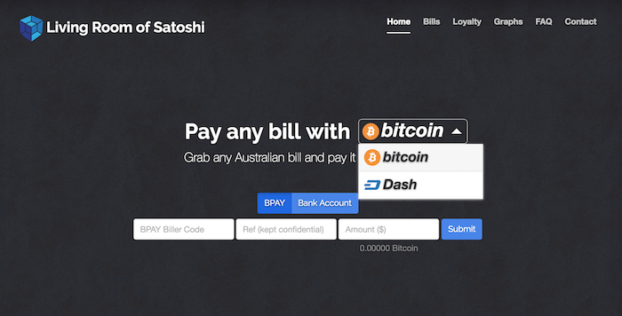 living room of satoshi, dash, bitcoin, utility bills