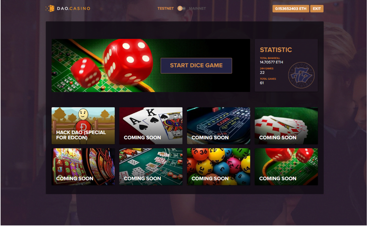 DAO.Casino Announces Release of Alpha Decentralized Casino Platform and Dice Game on Smart contracts