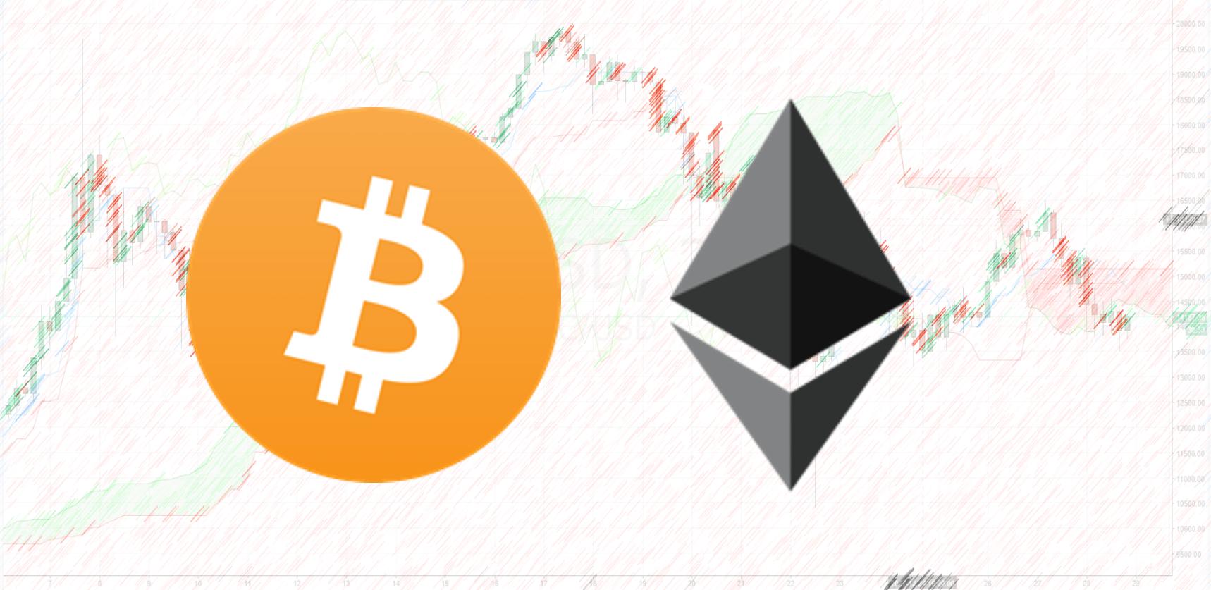 Bitcoin Ethereum Logo chart art