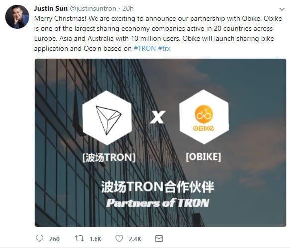 Tron alibaba announcement