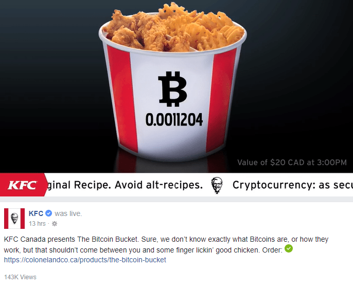KFC Canada Has Started to Accept Bitcoin For Fried Chicken