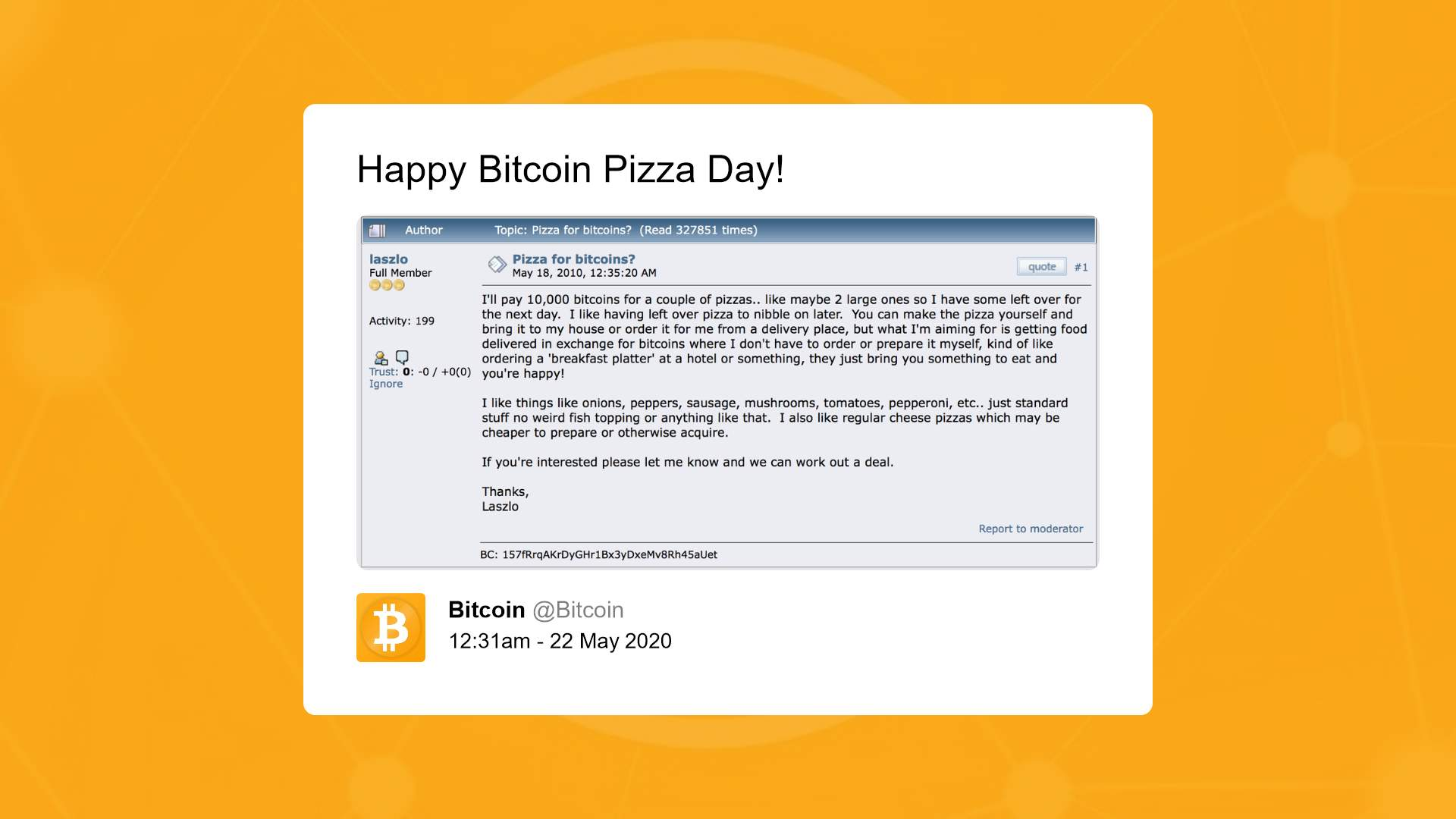bitcoin pizza day story