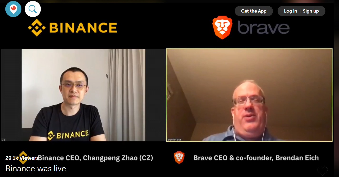 Changpeng Zhao & Brendan Eich discuss crypto