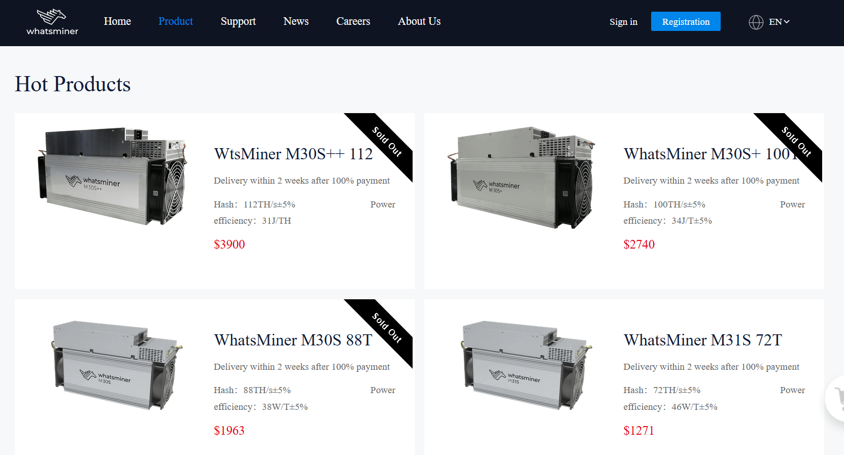 Bitcoin mining equipment from MicroBT