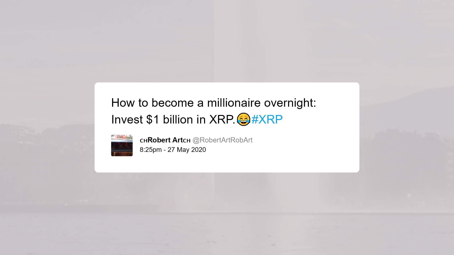 Tweet from pro-Ripple XRP influencer poking fun at the stale price action