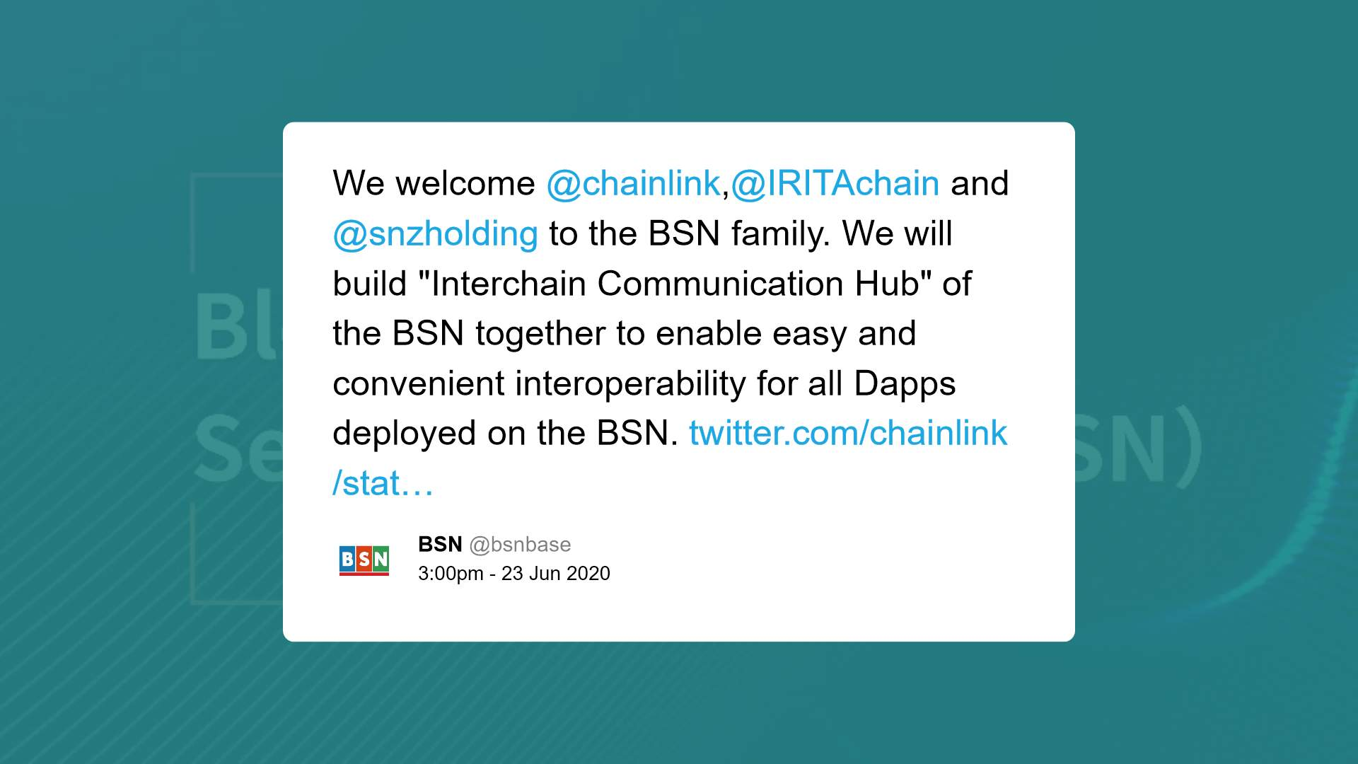 Chainlink and BSN tie-up