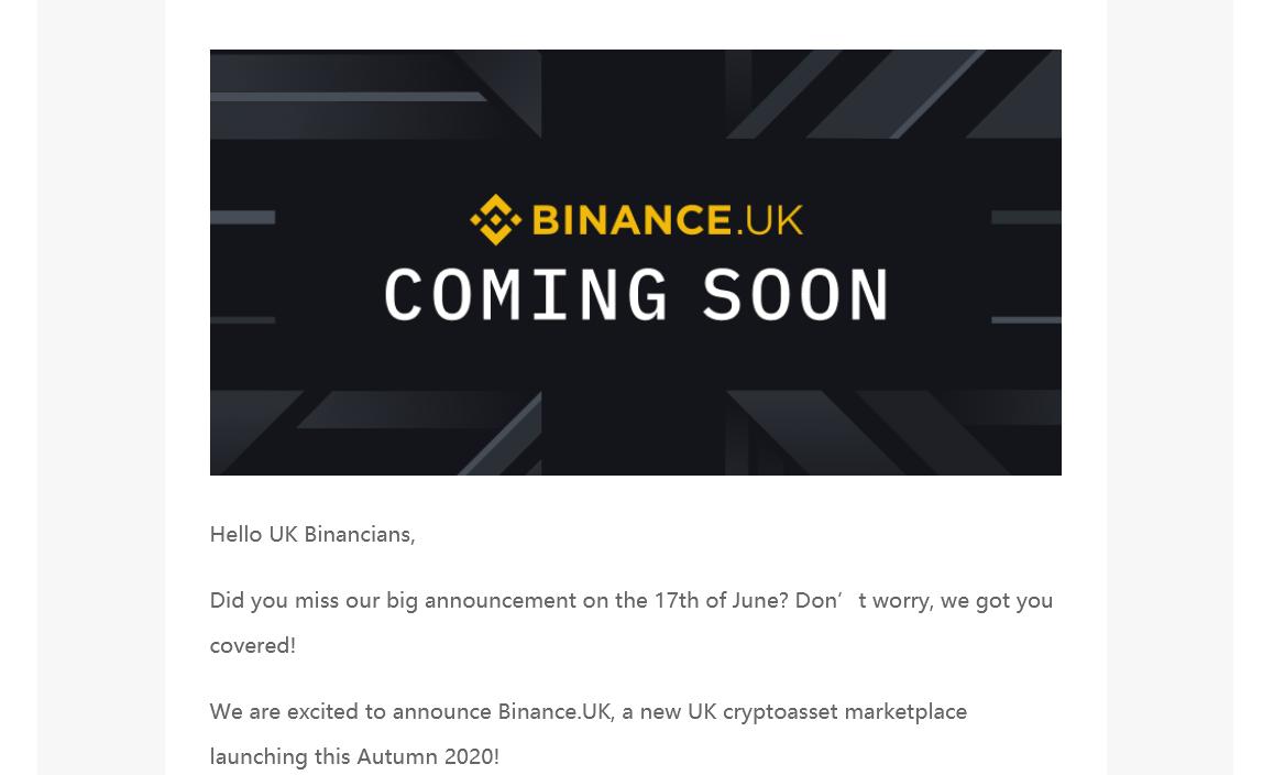تطلق binance منصة تشفير في المملكة المتحدة
