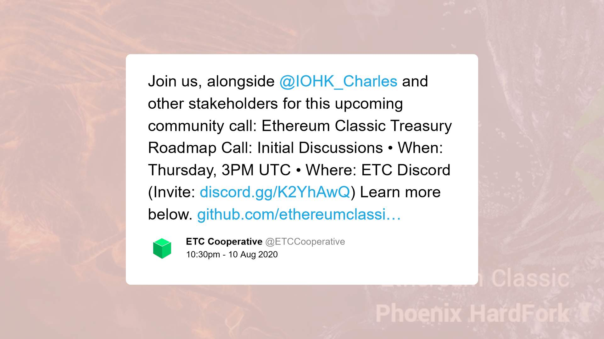 Ethereum Classic tweet on discussion of future direction of the project