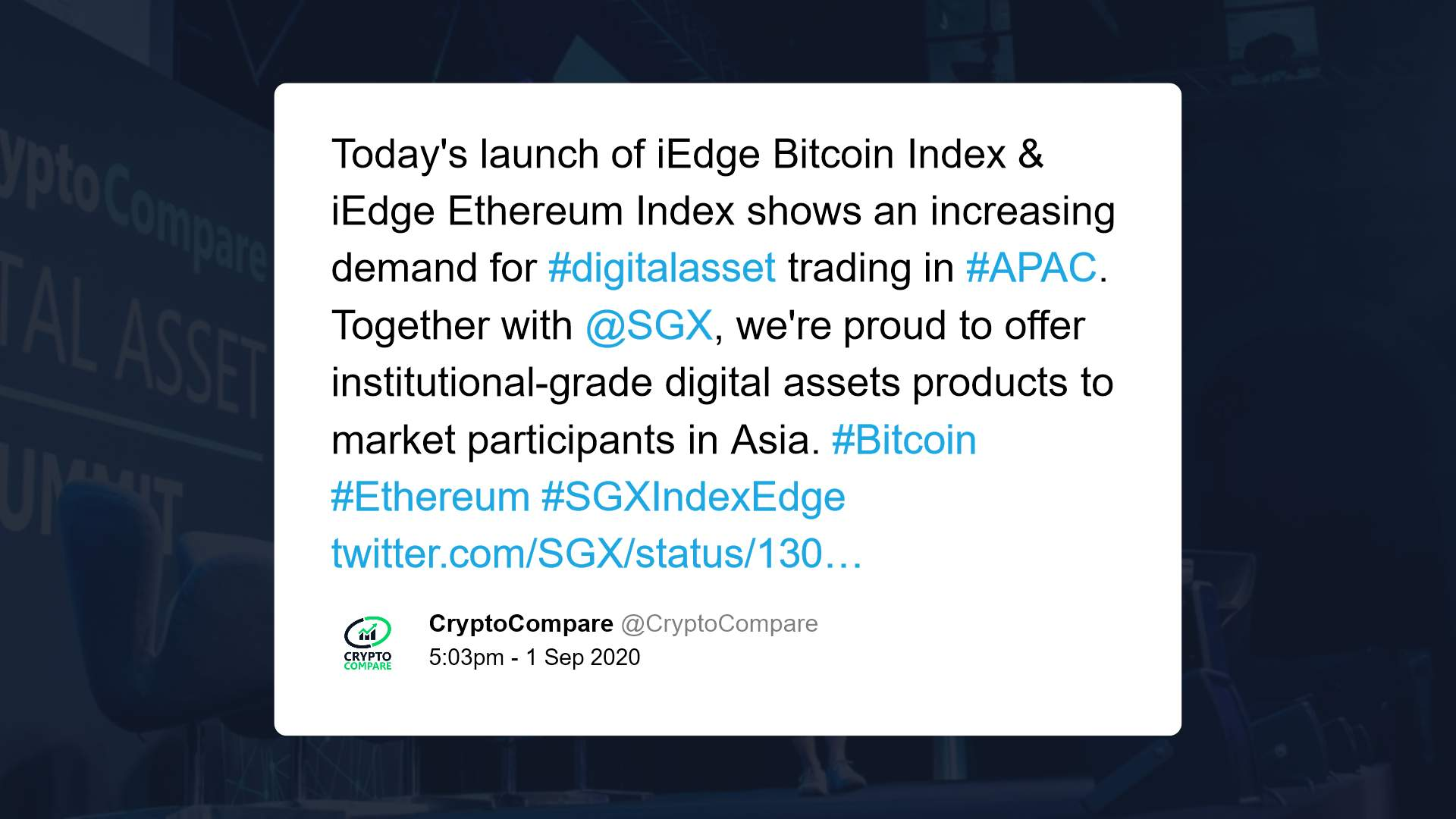 SGX in conjunction with CryptoCompare offering Asia-listed cryptocurrency indices