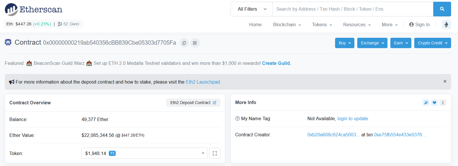 Etherscan of Ethereum mainnet deposit contract address