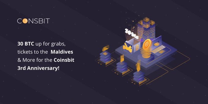 In Honour of Coinsbit 3rd Anniversary, the Exchange Is Launching a Unique Staking Pool With 30 Bitcoins up for Grabs, Tickets to the Maldives and More