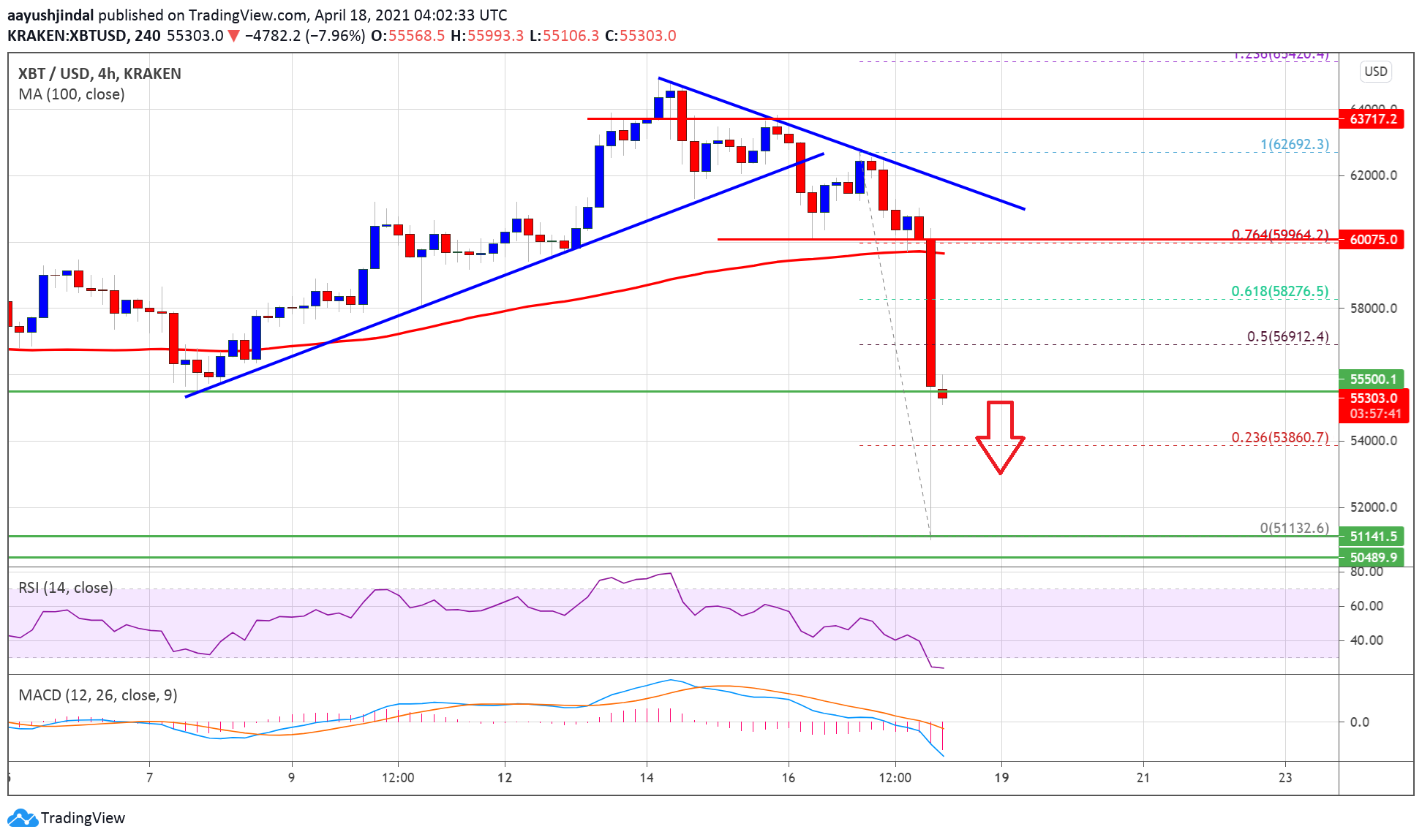 Bitcoin Price Nosedives $5K, Why BTC Could Extend Losses