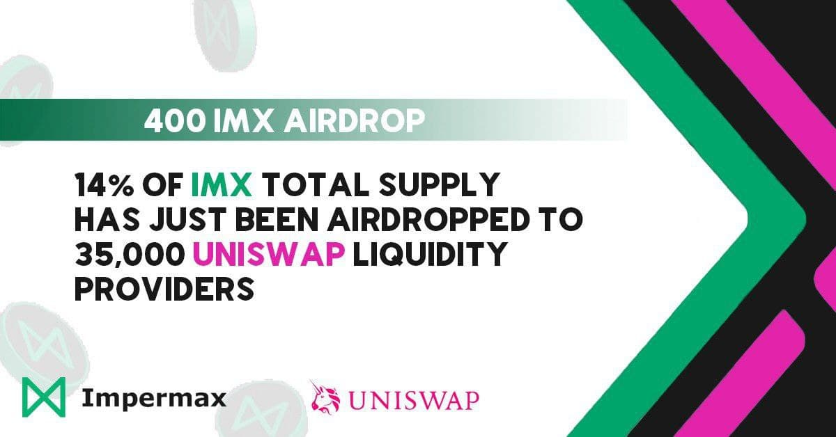 Impermax Airdropped 14 Million IMX Tokens to 35,000 Uniswap V2 Liquidity Providers