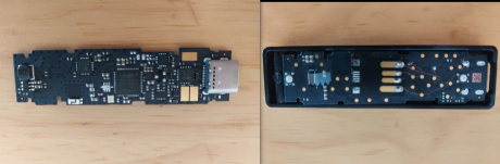 Side by side comparison of original and scam Ledger devices