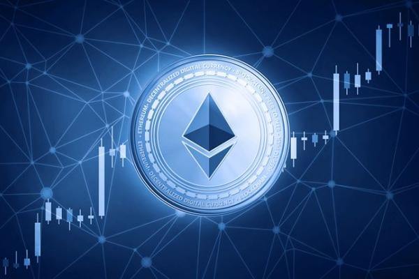 Picture of an ethereum coin with upward moving candlestick chart behind it