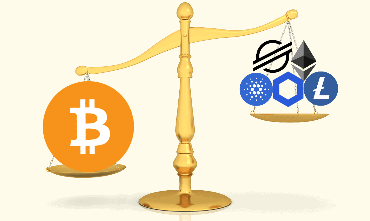 Picture of a scale with bitcoin on one end and altcoins on the other, depicting BTC dominance