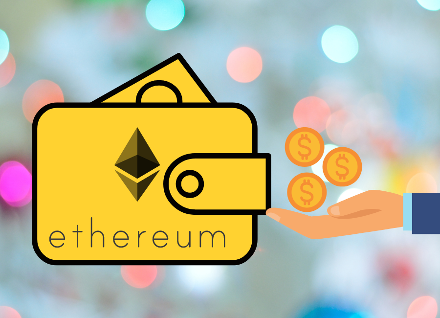 Picture of a hand with dollar coins giving it to a wallet with an ethereum logo on it with ethereum written underneath the logo