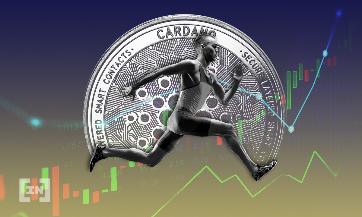 Picture of a sprinter running on an upward green arrow, with a Cardano coin in the background