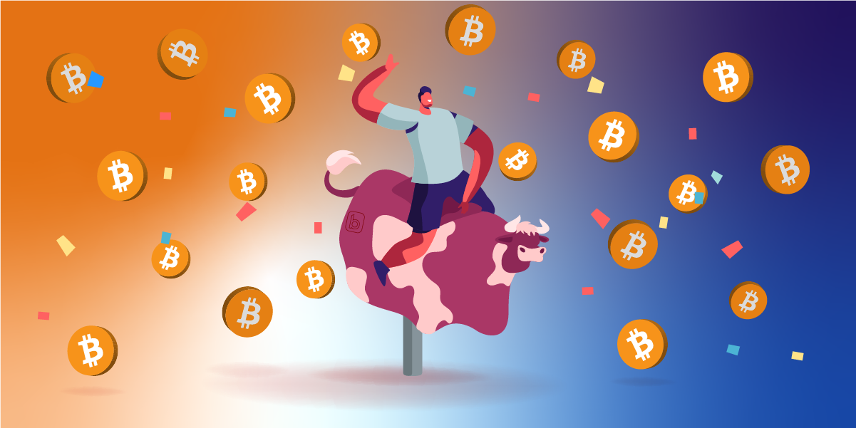 Picture of an animated person riding an animated bull, with bitcoins raining down