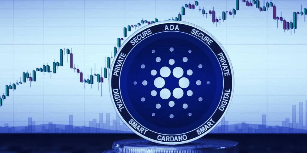 Picture of a Cardano coin standing in front of a candlestick price chart