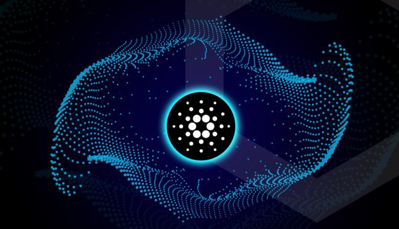 Picture of a Cardano logo in the middle of a web-like floating net