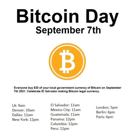 Tomorrow, The Community Will Buy $30 In BTC To Support El Salvador's Bitcoin Law