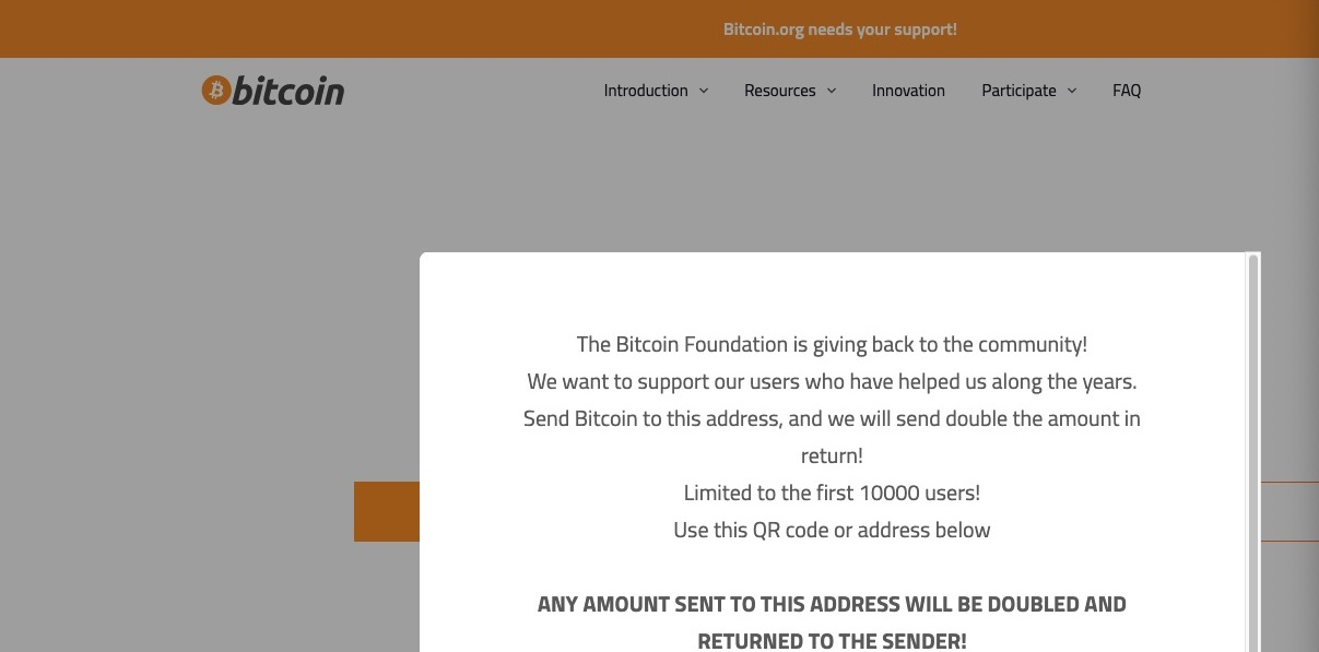 Bitcoin.org Hacked By Scammers For A Few Minutes. Someone Sent Them 0.4 BTC