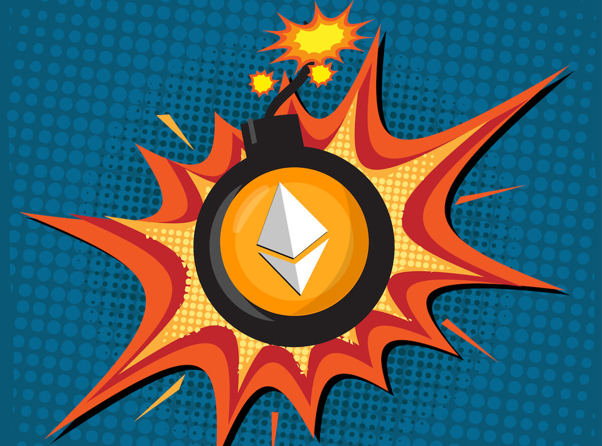 Picture of an Ethereum logo on an exploding bomb