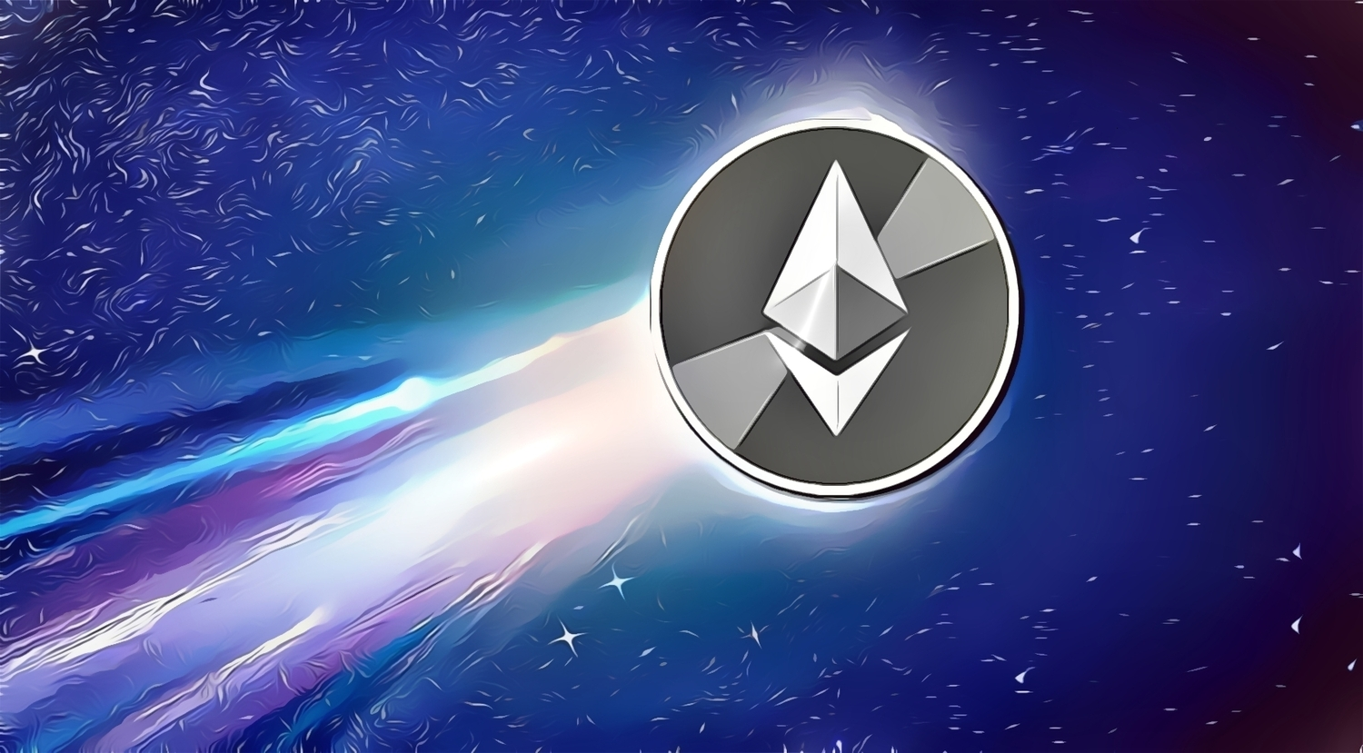 Picture of an Ethereum crypto coin shooting through the cosmos