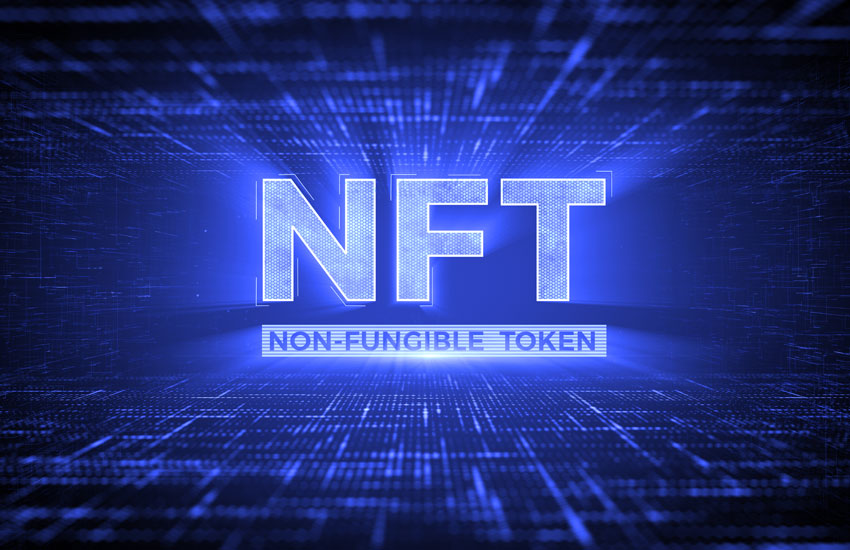 Picture that says NFT and non-fungible tokens written underneath it